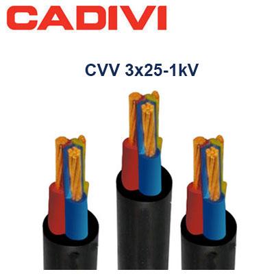 Dây Cáp Điện Cadivi CVV-3x25 - 0,6/1 KV