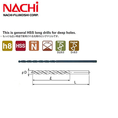 Mũi khoan dài Nachi D6x250mm List 550